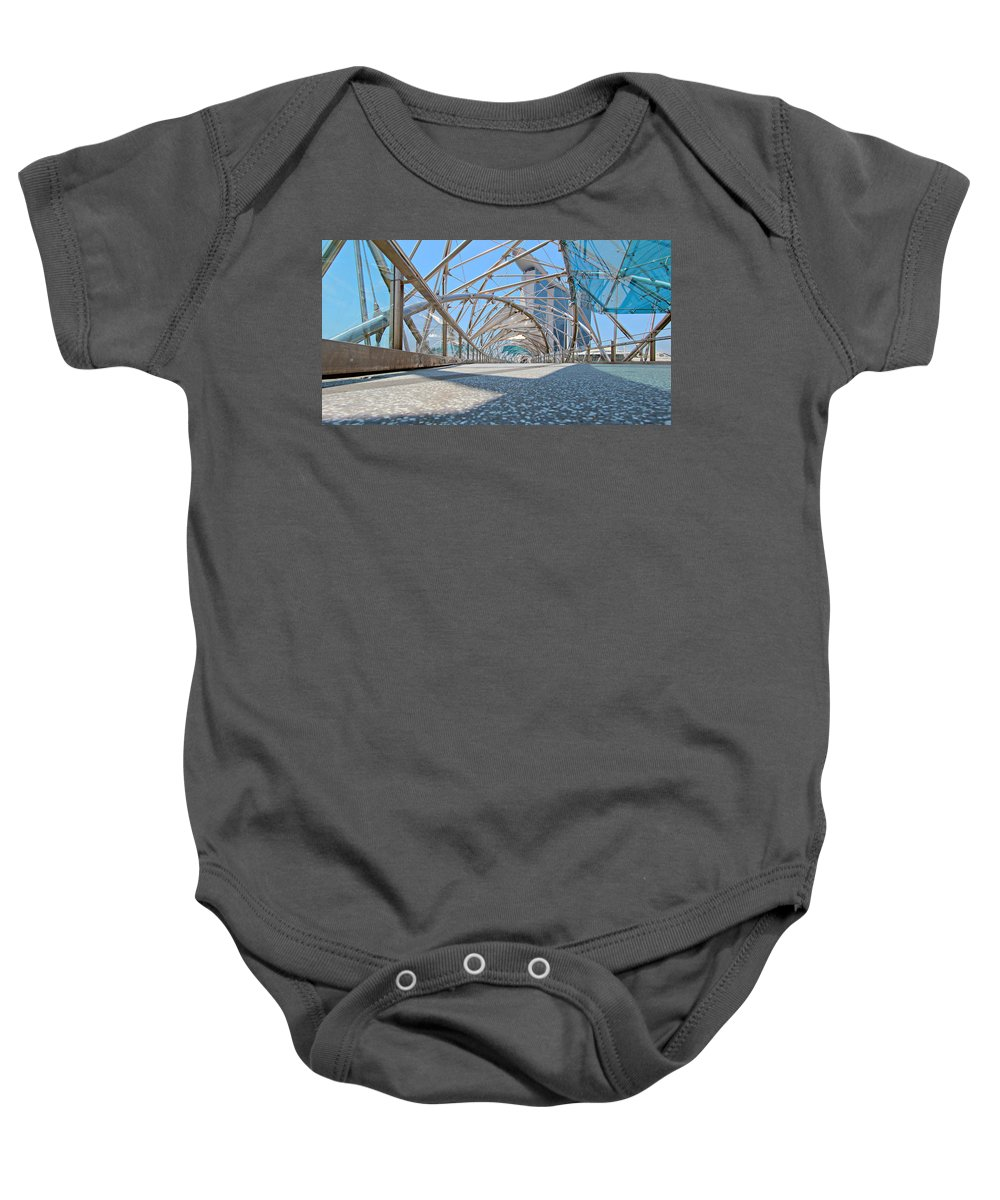 Artscience Baby Onesie featuring the photograph Singapore Double Helix Bridge And Marina Bay Sands With Skypark by Paul Fell