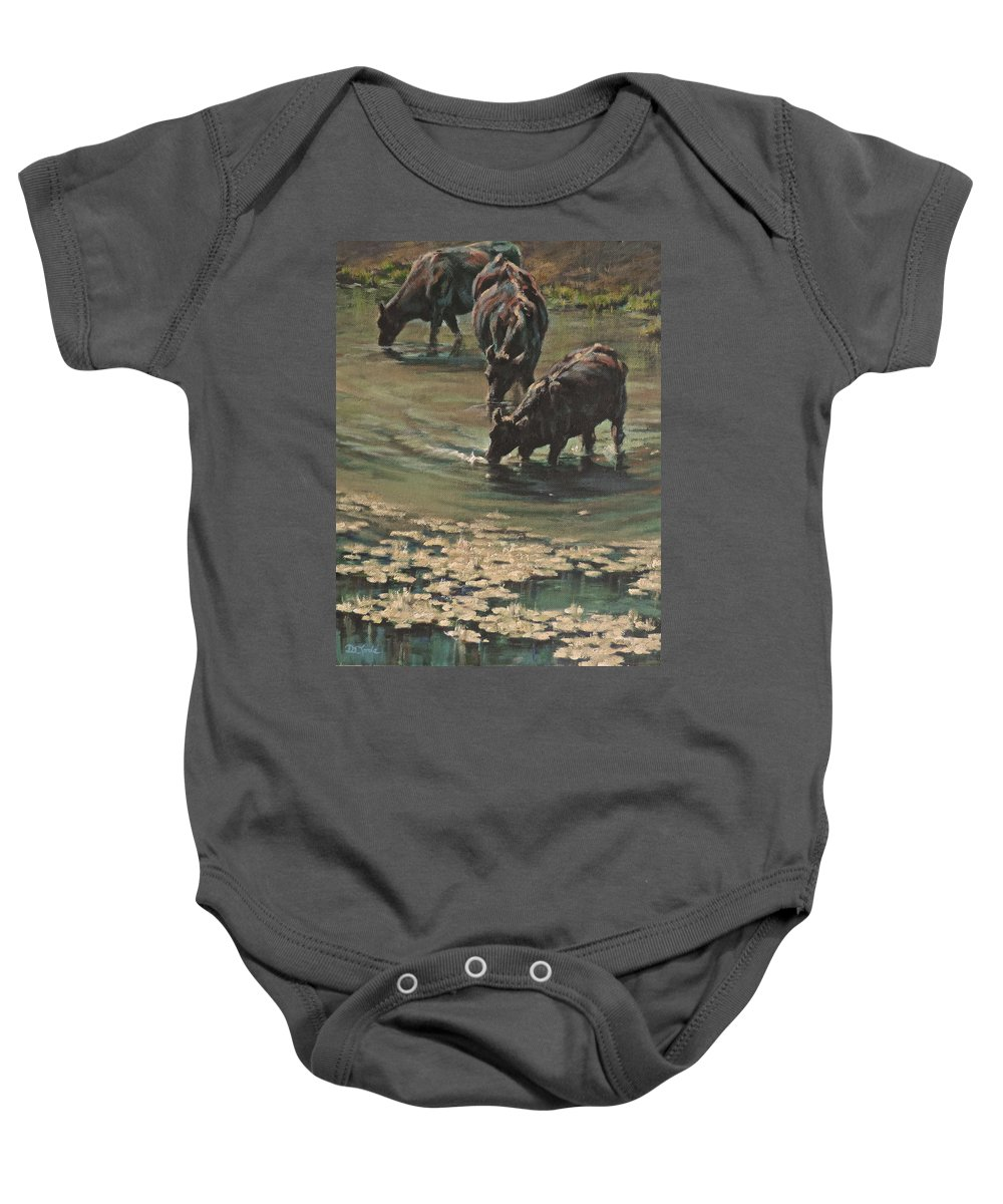 Cows Bovine Baby Onesie featuring the painting Sip N Dip by Mia DeLode