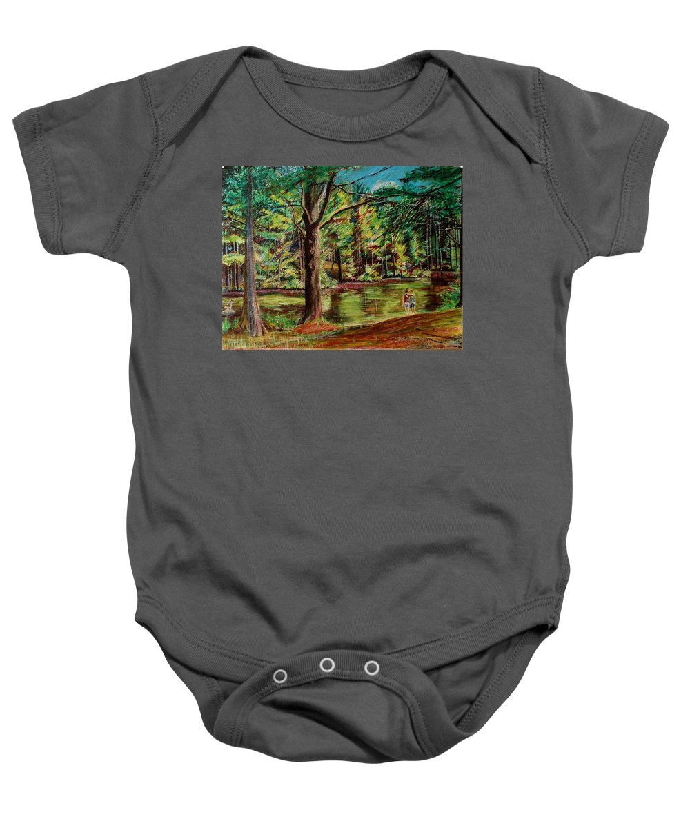New Hampshire Baby Onesie featuring the pastel Sisters At Wason Pond by Sean Connolly
