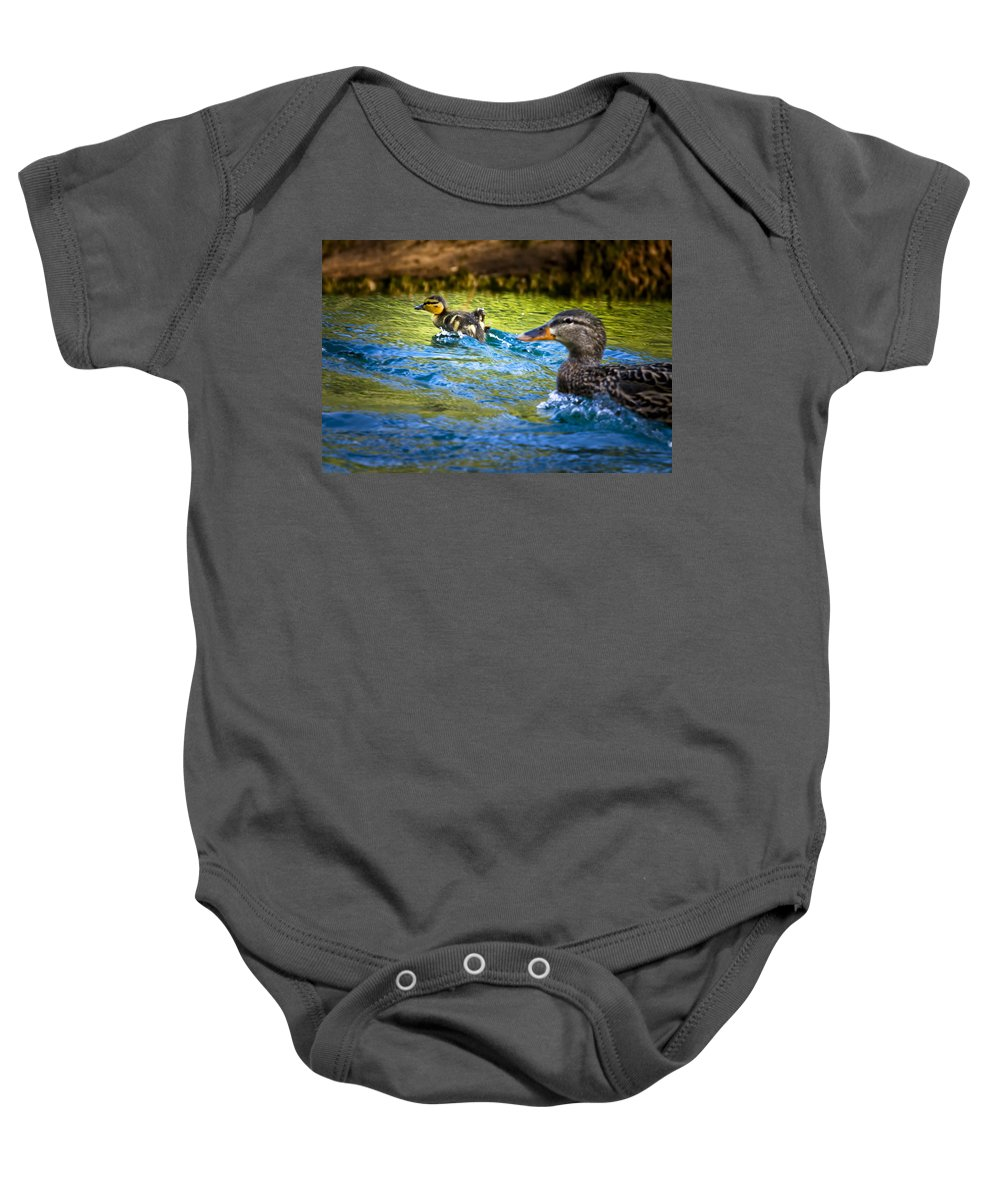 Duckling Baby Onesie featuring the photograph Skittering by Belinda Greb