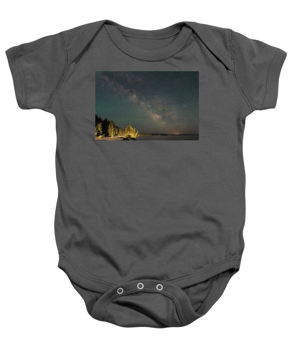 Grand Teton Baby Onesie featuring the photograph Sky Lights by Kristopher Schoenleber