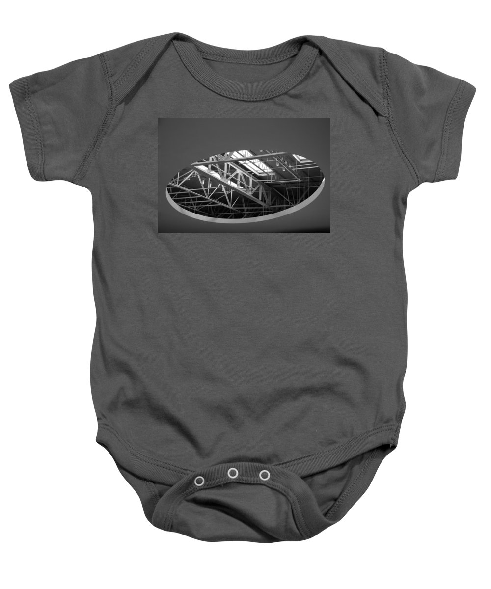 Architecture Baby Onesie featuring the photograph Skylight Gurders In Black And White by Rob Hans