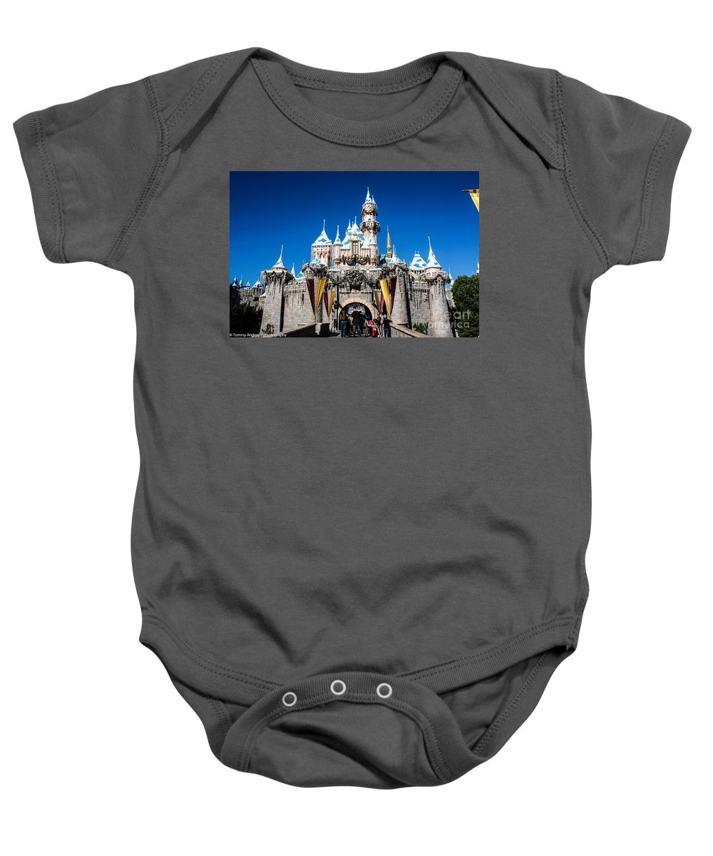 Disneyland Baby Onesie featuring the photograph Sleeping Beauty's Castle by Tommy Anderson