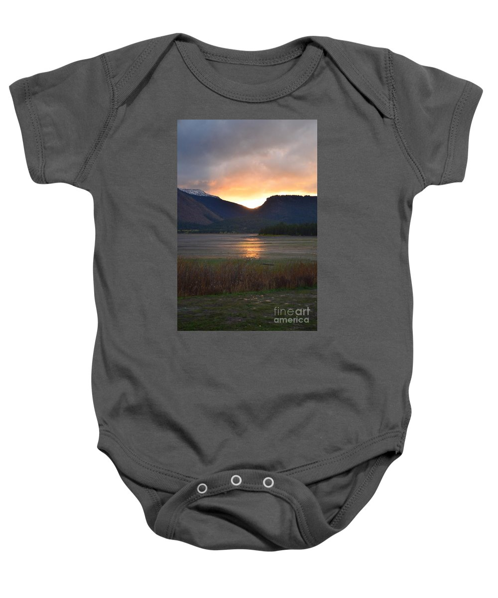 Sunset Baby Onesie featuring the photograph Slipping Into The Night by Deanna Cagle