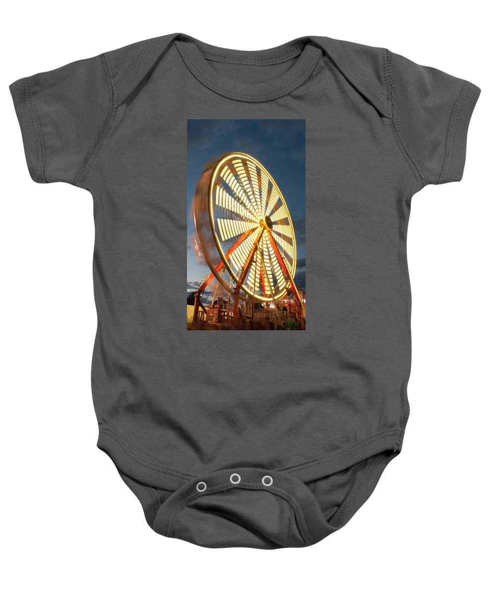 Kimberton Fair Baby Onesie featuring the photograph Slow Down The Ferris Wheel by Michael Porchik