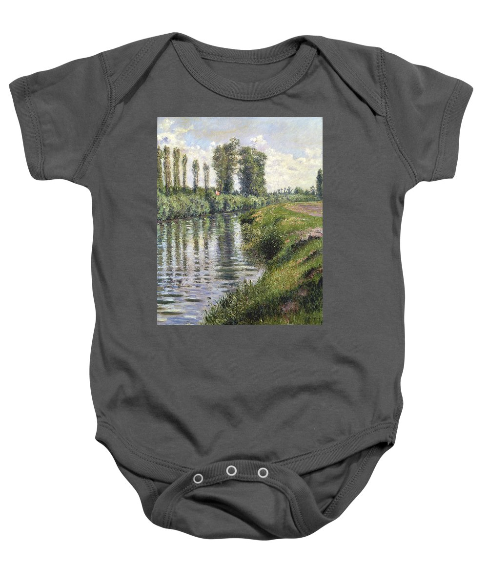 River; Impressionist; Landscape; Banks; Reflection; Reflet Baby Onesie featuring the painting Small Branch Of The Seine At Argenteuil by Gustave Caillebotte
