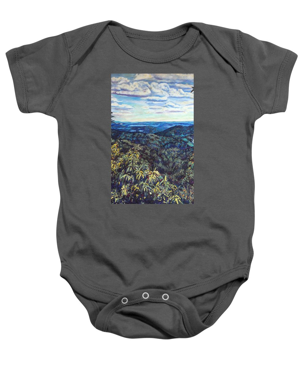 Landscape Baby Onesie featuring the painting Smartview Blue Ridge Parkway by Kendall Kessler