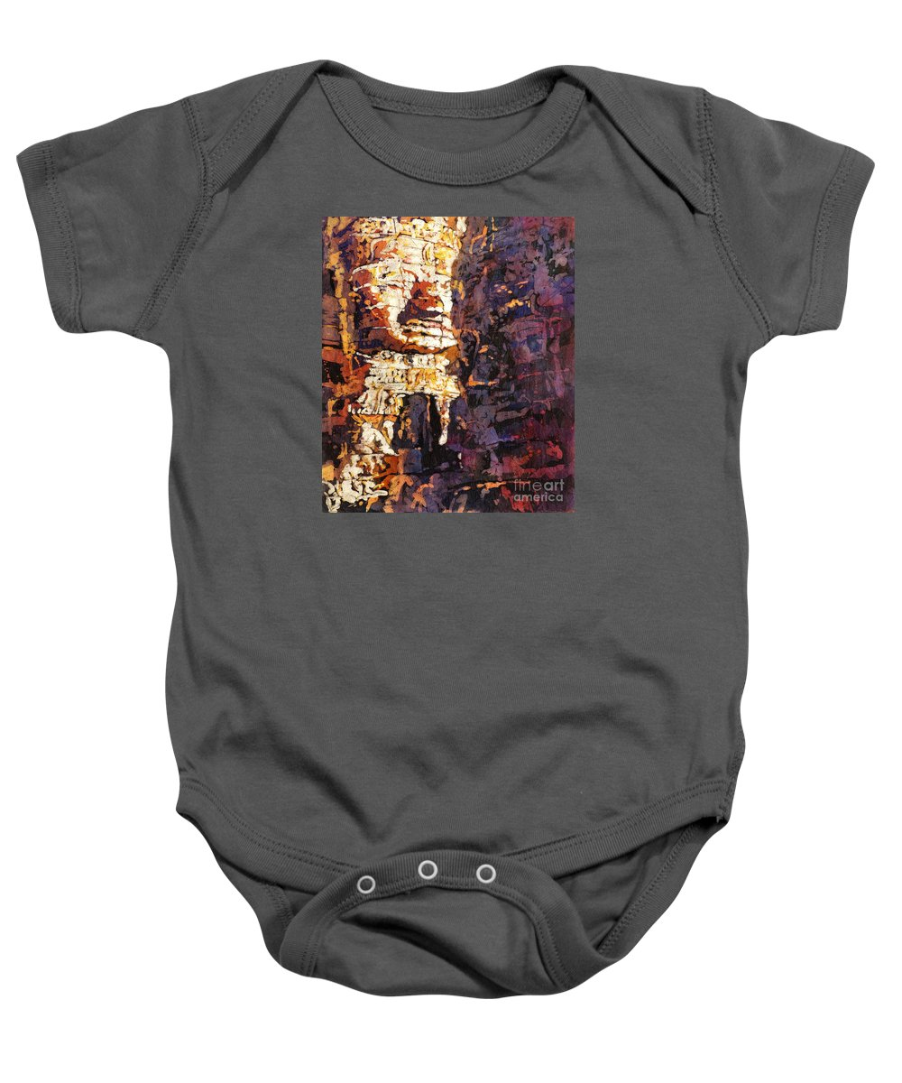 Batik Baby Onesie featuring the painting Smile. It's Contagious by Ryan Fox