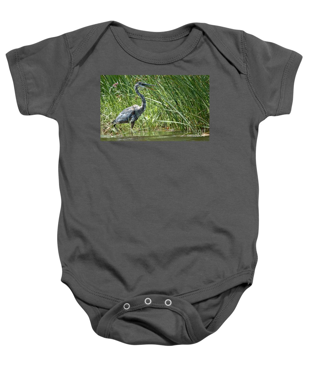 Great Blue Heron Baby Onesie featuring the photograph Smiling Heron by Cheryl Baxter