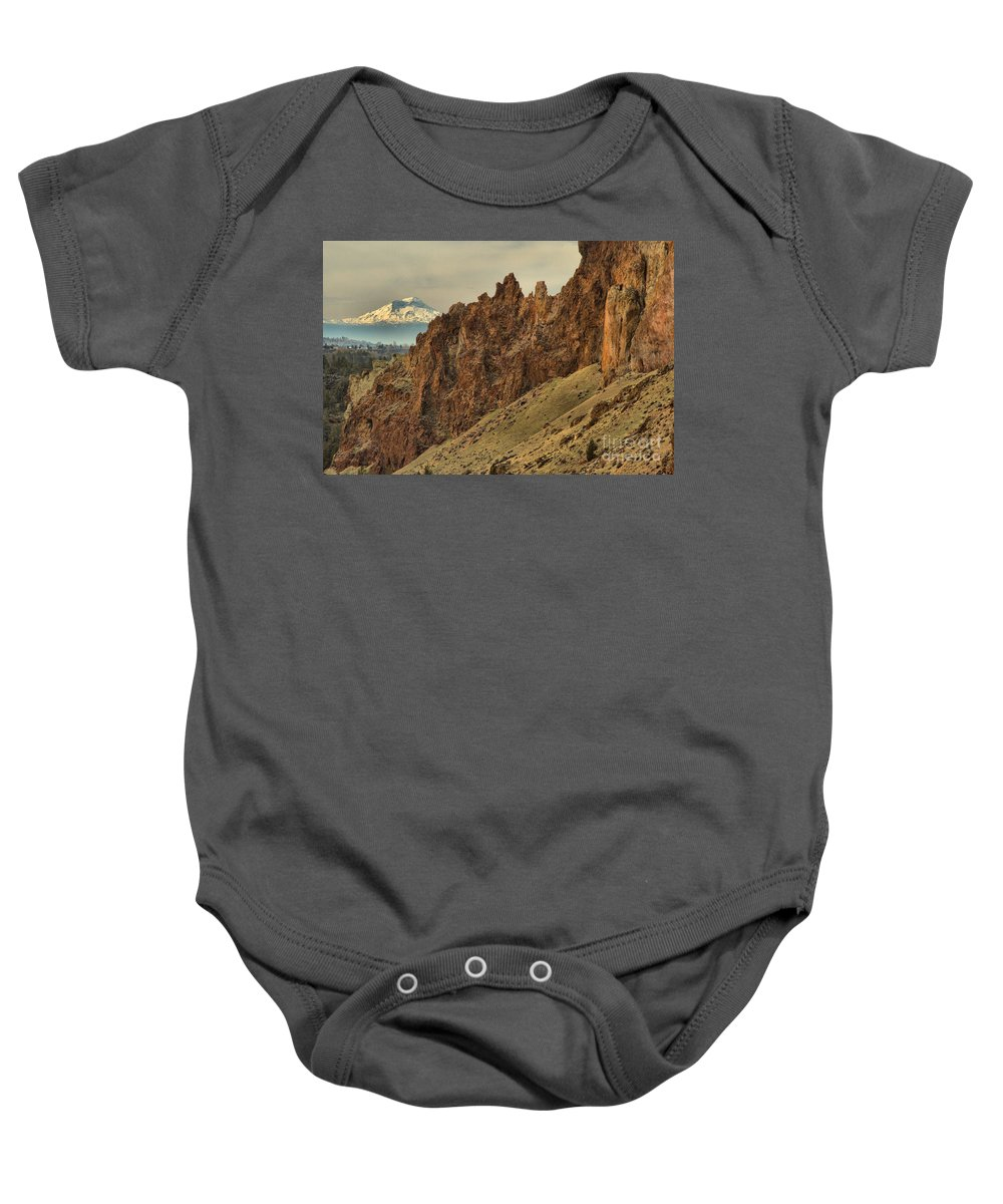 Smith Rock Baby Onesie featuring the photograph Smith Rock And Cascades by Adam Jewell