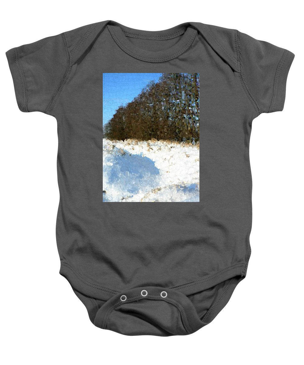 Snow Baby Onesie featuring the painting Snow Covered Riverbed by Bruce Nutting