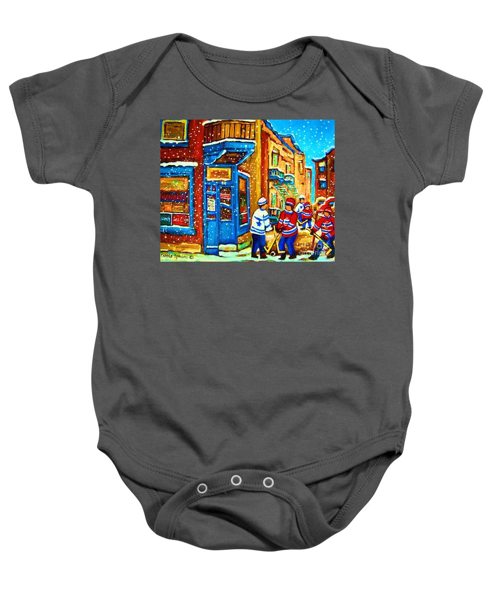 Wilenskys Baby Onesie featuring the painting Snow Falling On The Game by Carole Spandau
