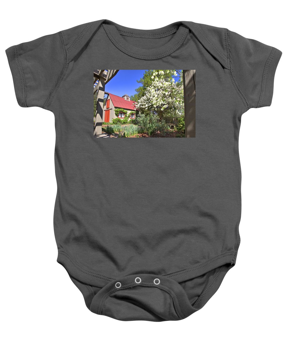 8293 Baby Onesie featuring the photograph Snowball Tree In The Garden by Gordon Elwell