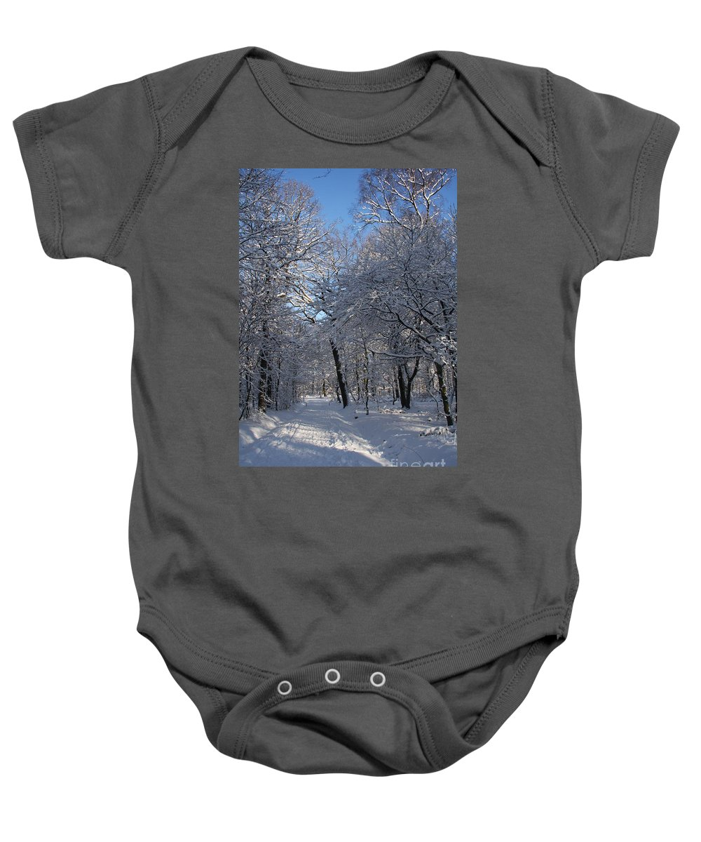 Forest Baby Onesie featuring the photograph Snowy Trail by Christiane Schulze Art And Photography
