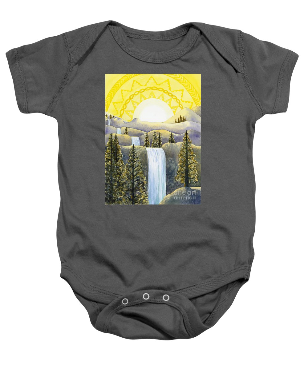 Power Baby Onesie featuring the painting Solar Plexus Chakra by Catherine G McElroy