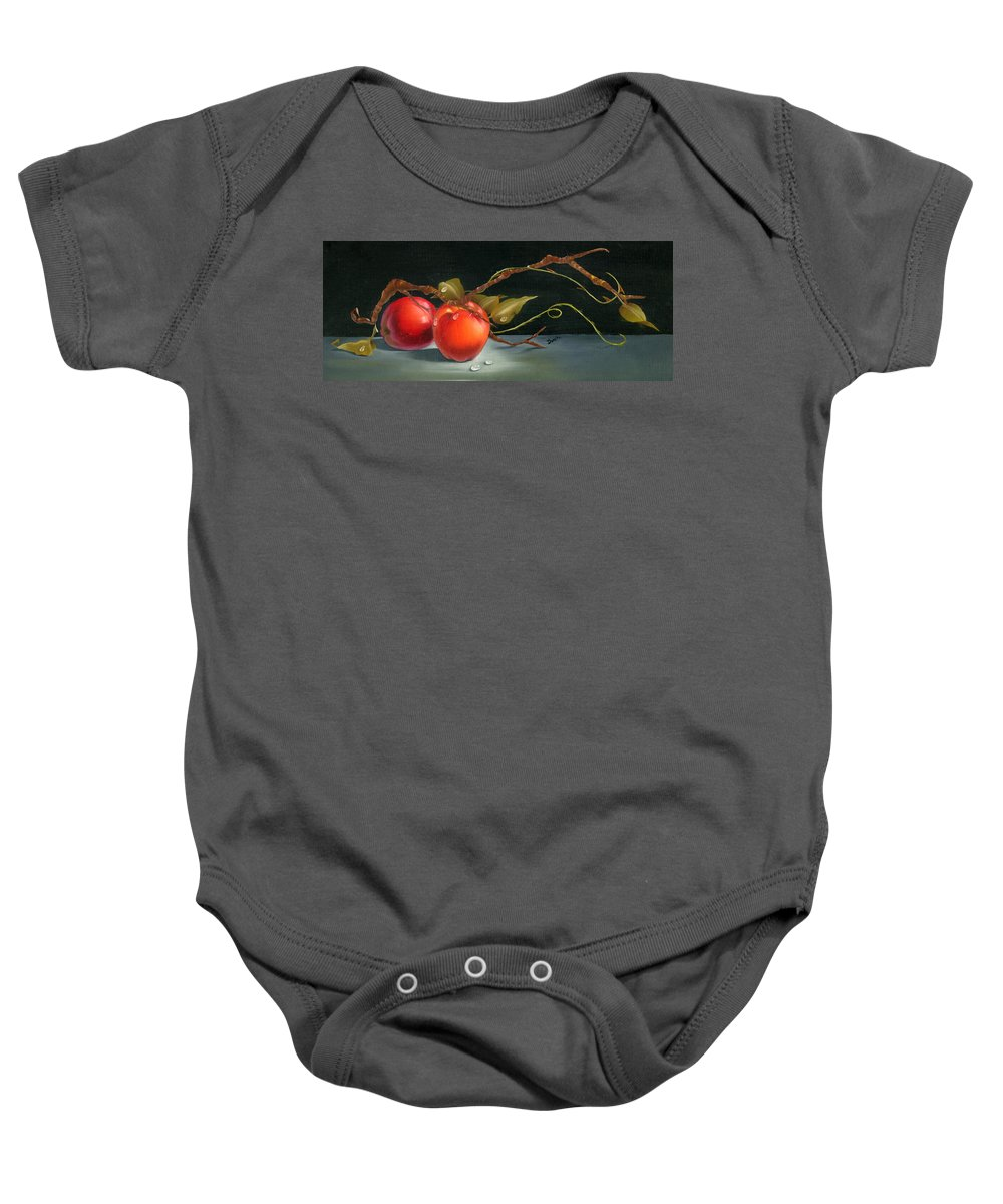 Mea Fine Art Baby Onesie featuring the painting Solitary Apples by Doreta Y Boyd