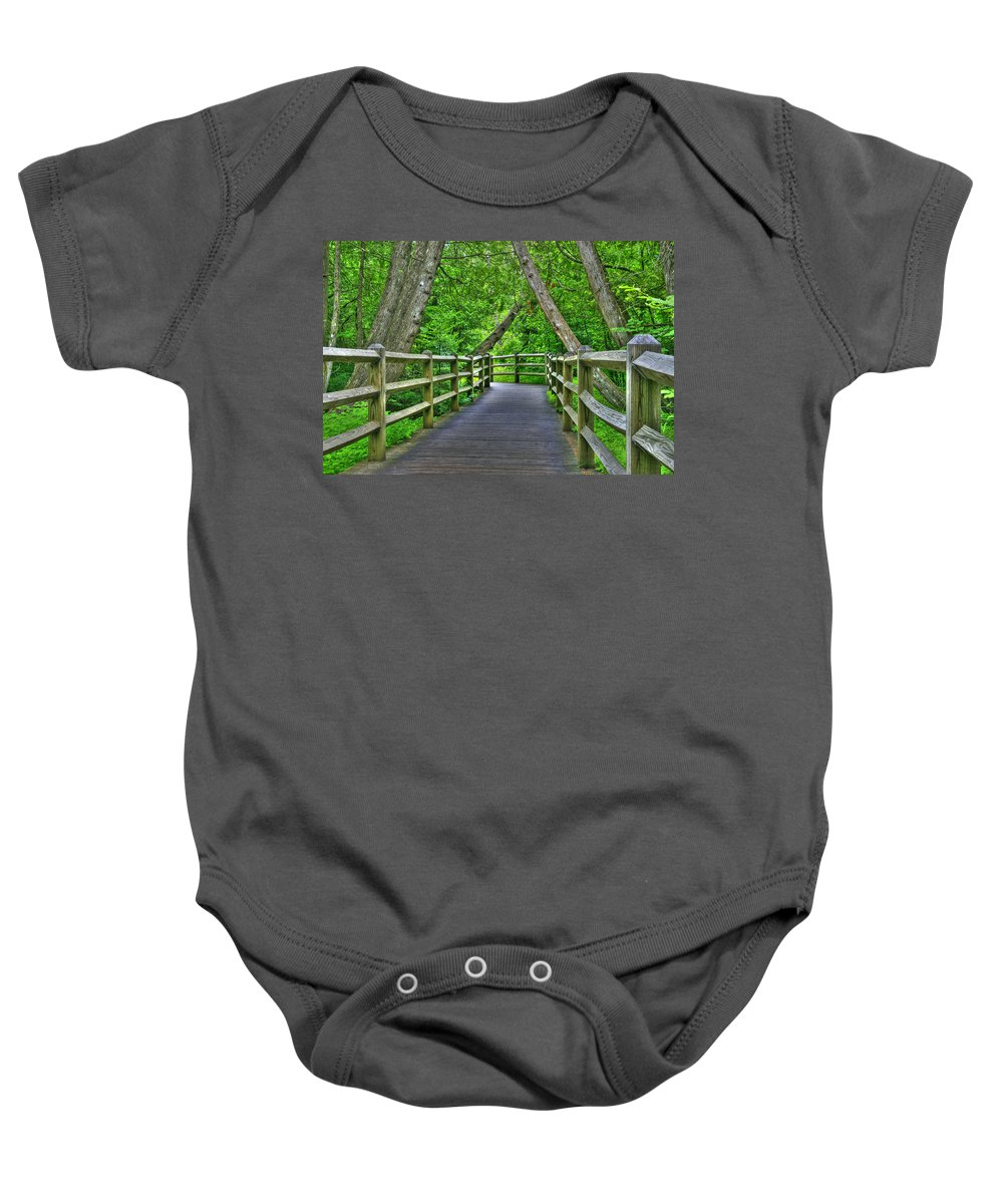 Woods Baby Onesie featuring the photograph Somewhere In The Upper Peninsula by John Absher