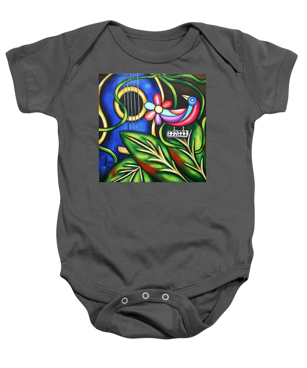 Cuba Baby Onesie featuring the painting Songbird by Annie Maxwell