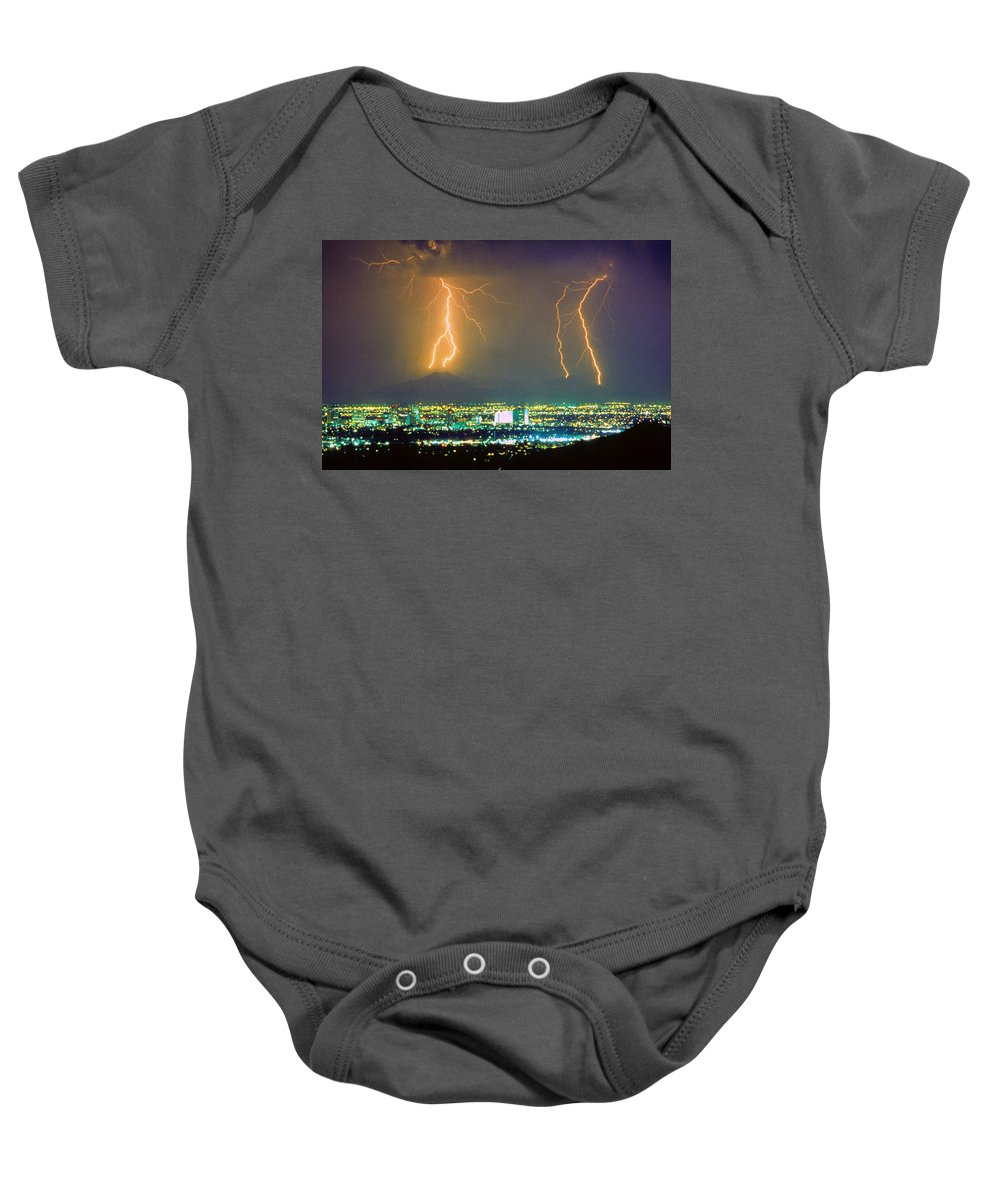 Lightning Baby Onesie featuring the photograph South Mountain Lightning Strike Phoenix Az by James BO Insogna