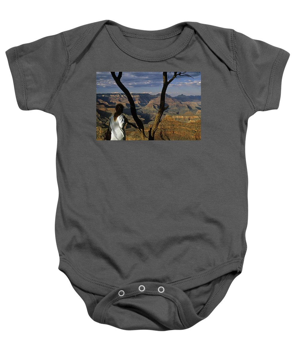 Grand Canyon National Park Baby Onesie featuring the photograph South Rim Grand Canyon Sunset Light On Rock Formations With Woma by Jim Corwin