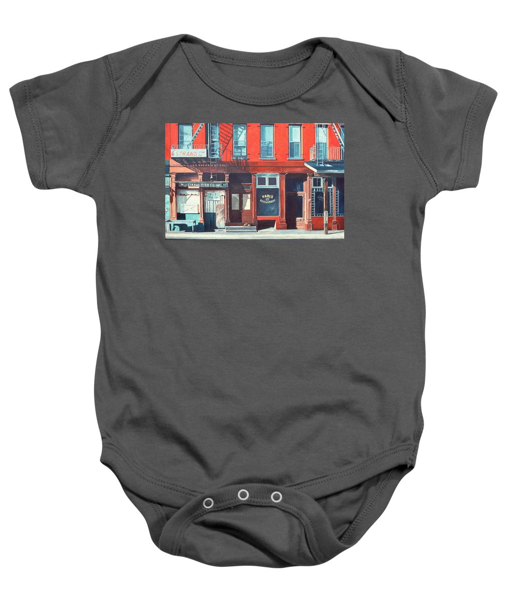 Fire Escapes Baby Onesie featuring the painting South Street by Anthony Butera
