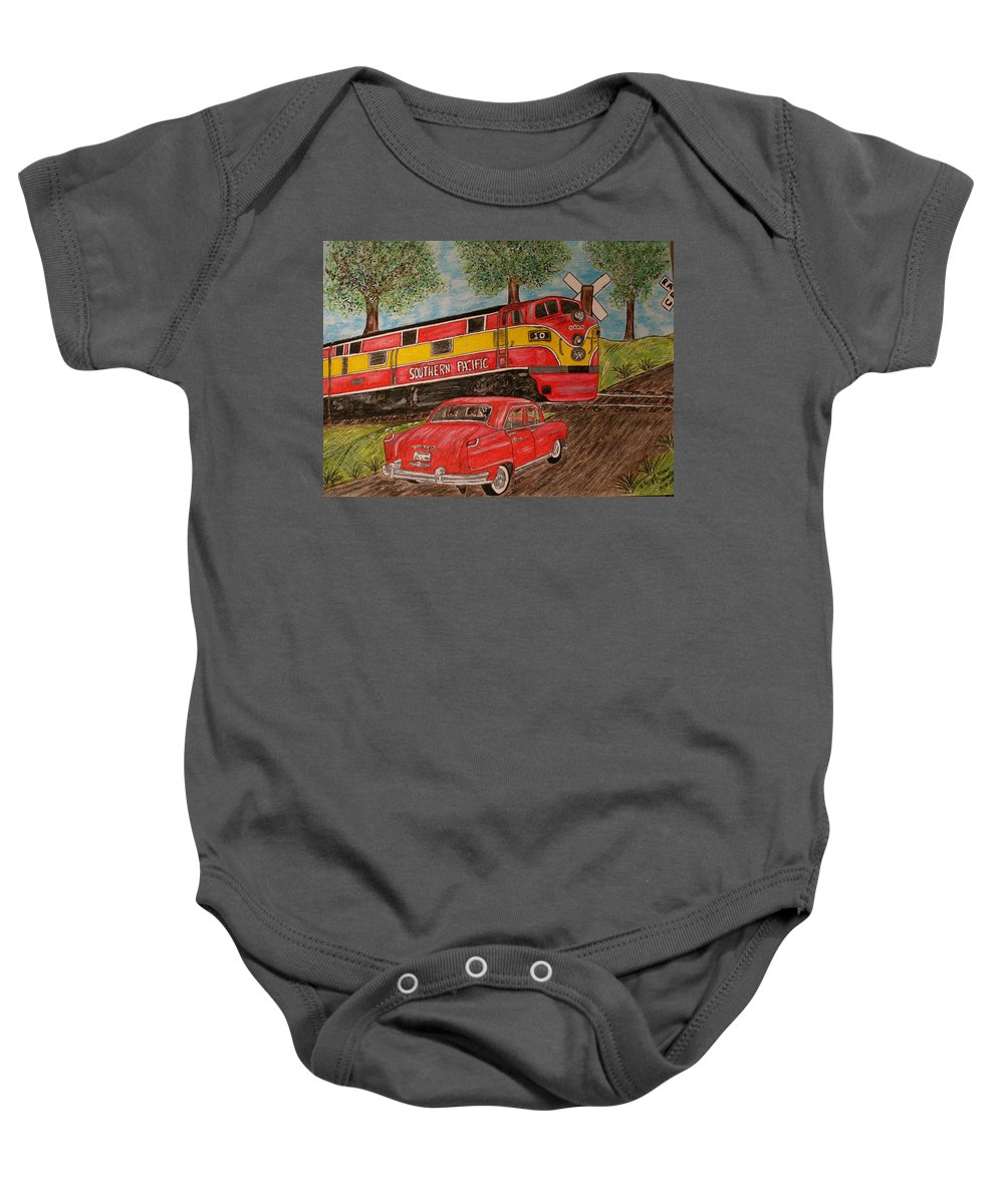 Southern Pacific Railroad Baby Onesie featuring the painting Southern Pacific Train 1951 Kaiser Frazer Car Rr Crossing by Kathy Marrs Chandler