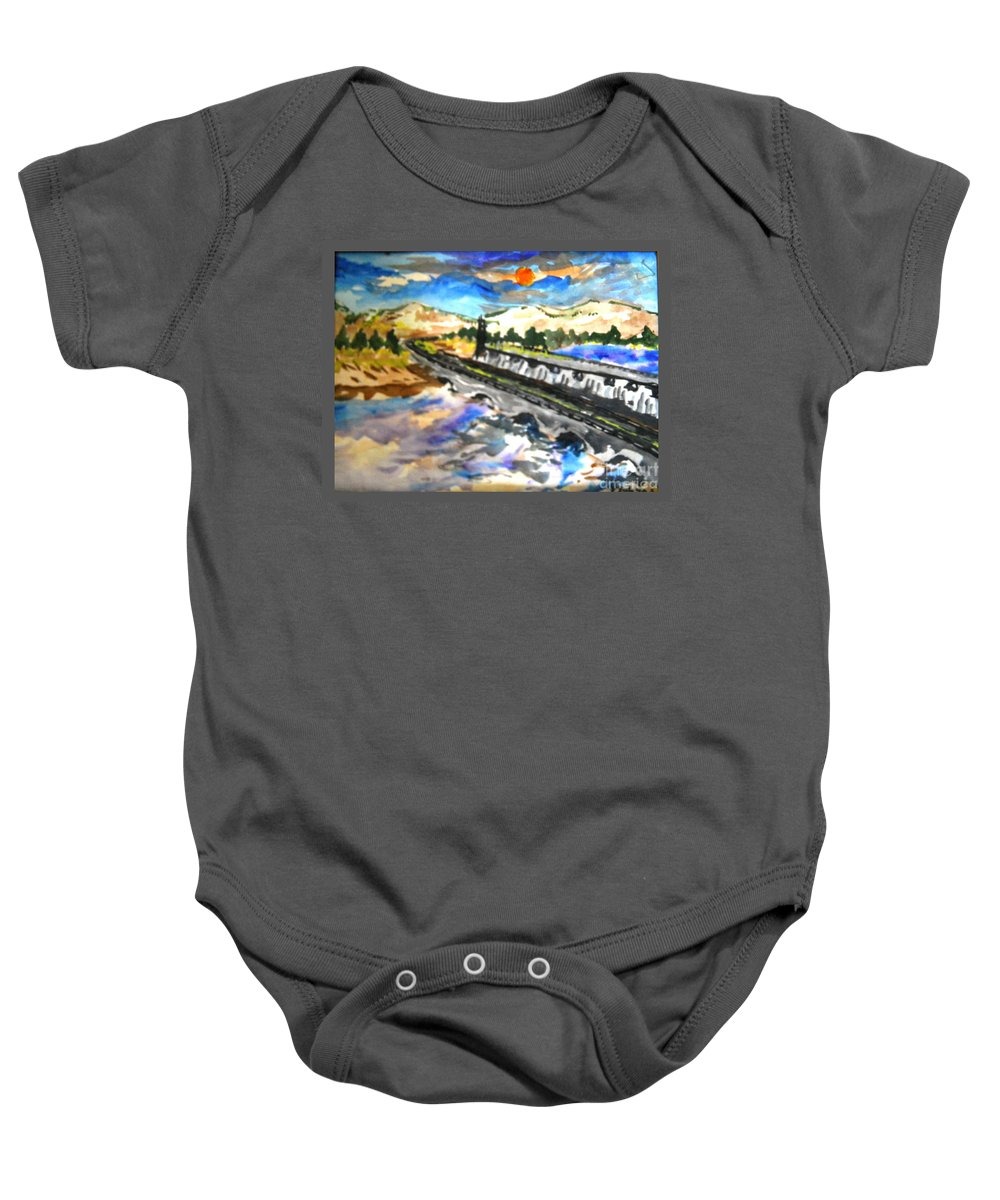 Scenery Baby Onesie featuring the painting Southern River Dam					 by Ayyappa Das