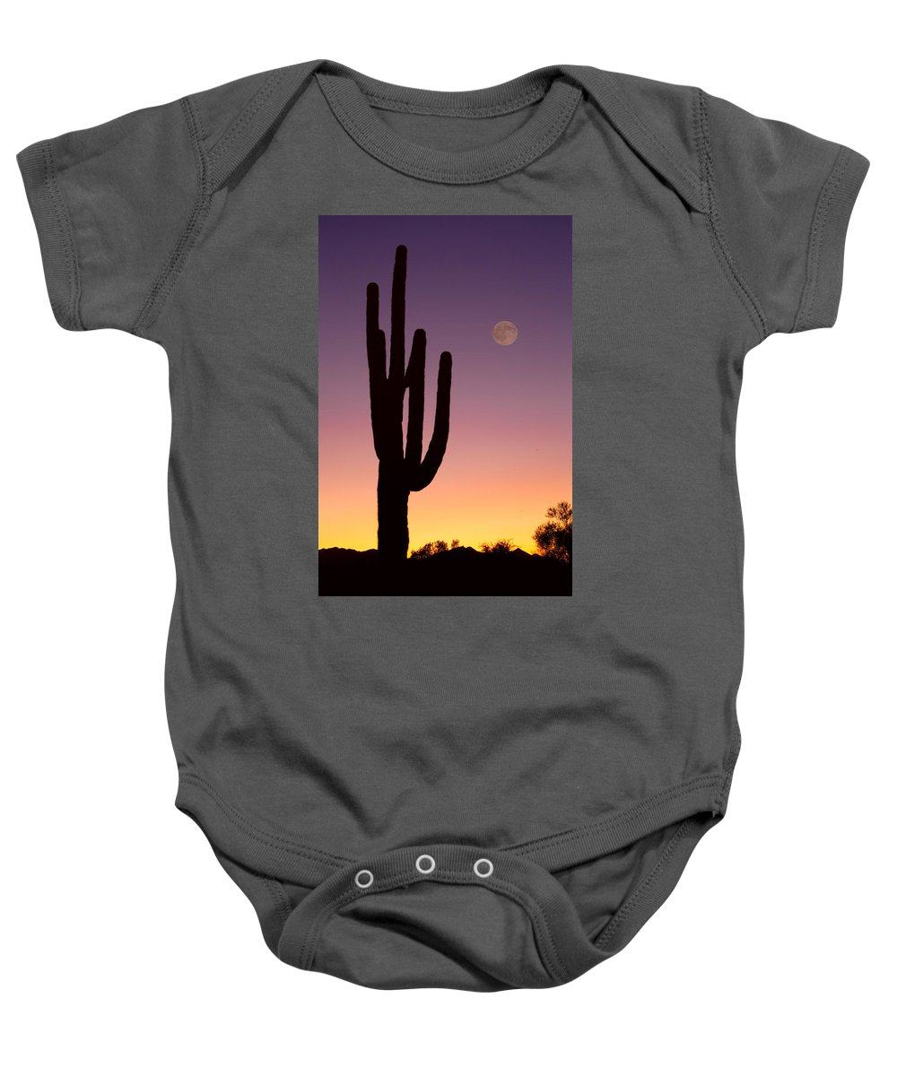 Sun Baby Onesie featuring the photograph Southwest Desert Moon Glow by James BO Insogna