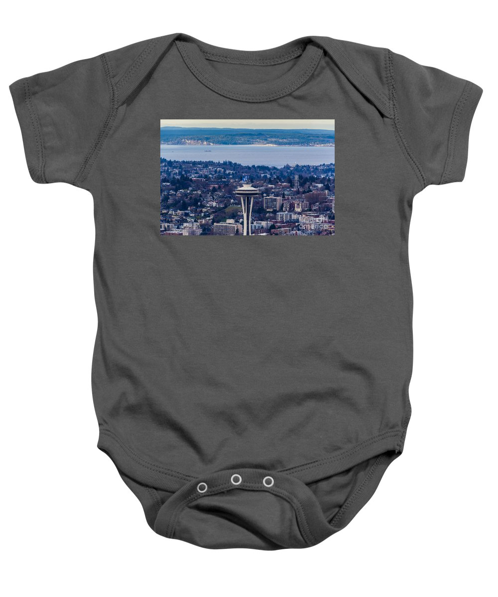 Elliott Bay Baby Onesie featuring the photograph Space Needle 12th Man Seahawks by Mike Reid