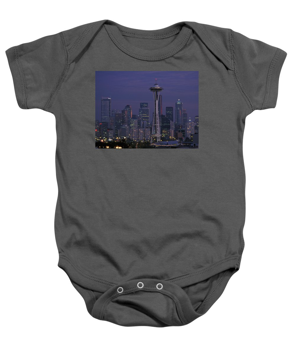 Space Needle Baby Onesie featuring the photograph Space Needle At Twilight by John Clark