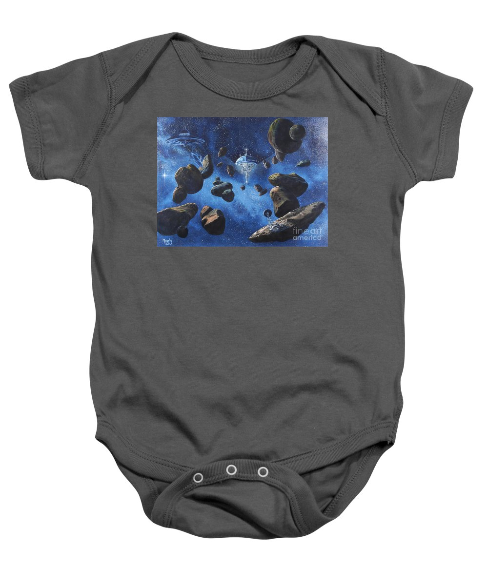 Oil Baby Onesie featuring the painting Space Station Outpost Twelve by Murphy Elliott