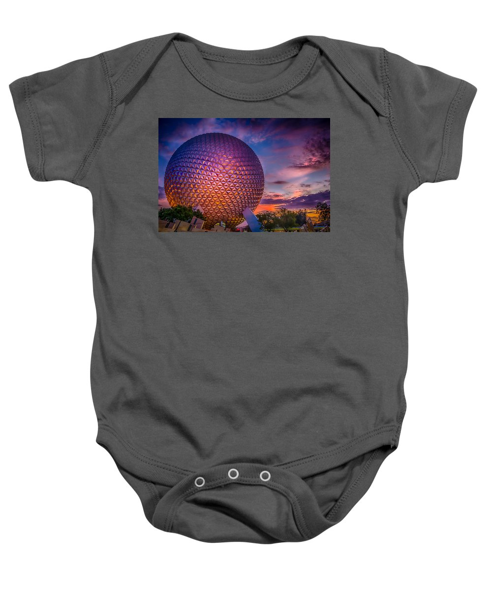 Attraction Baby Onesie featuring the photograph Spaceship Earth Glow by Gareth Burge Photography