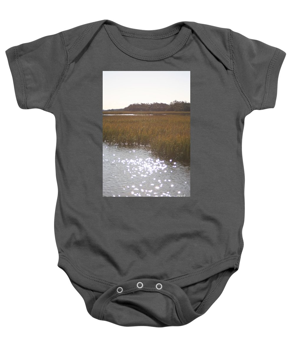 Marsh Baby Onesie featuring the photograph Sparkling Marsh by Nadine Rippelmeyer