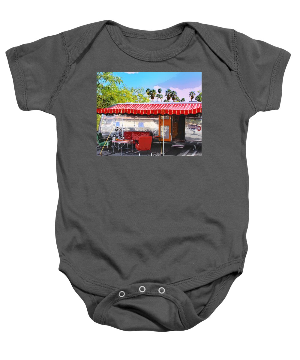 Airstream Baby Onesie featuring the photograph Spartan Manor Palm Springs by William Dey