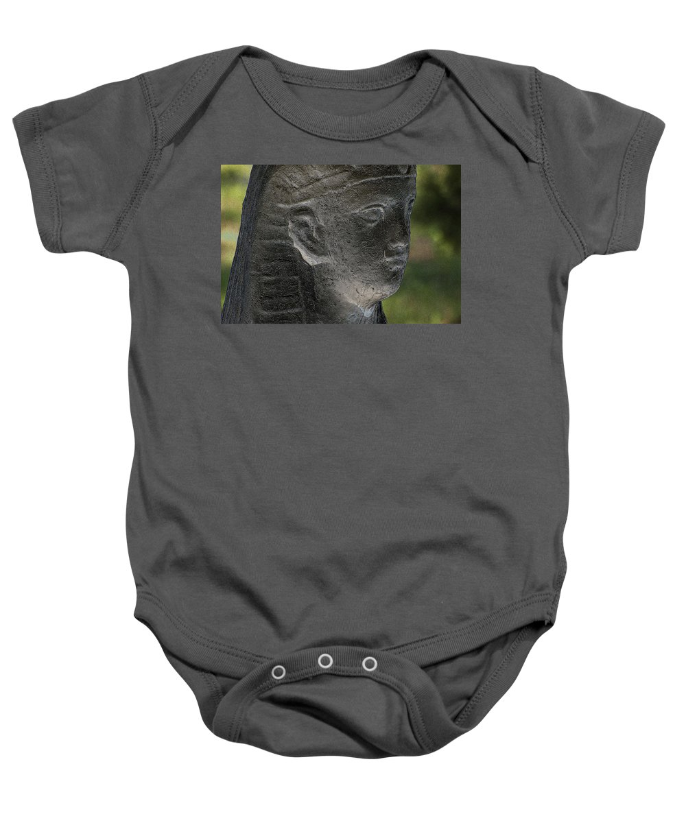 Poster Baby Onesie featuring the photograph Sphinx Statue Head Grey Usa by Sally Rockefeller