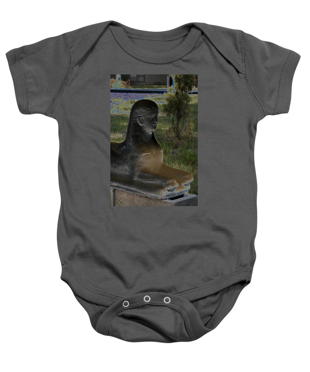 Color Baby Onesie featuring the photograph Sphinx Statue Three Quarter Profile Solar Usa by Sally Rockefeller