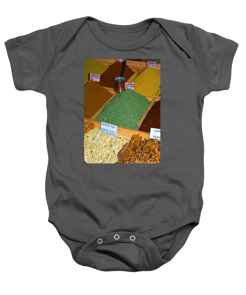 Spice Bazaar Baby Onesie featuring the photograph Spice Bar by Bob Phillips