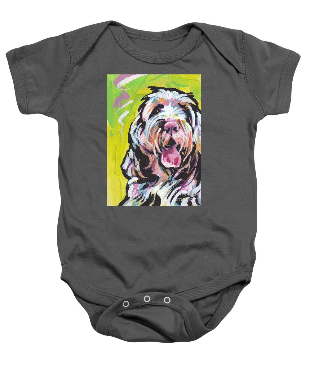 Spinone Italiano Baby Onesie featuring the painting Spin One Baby by Lea S