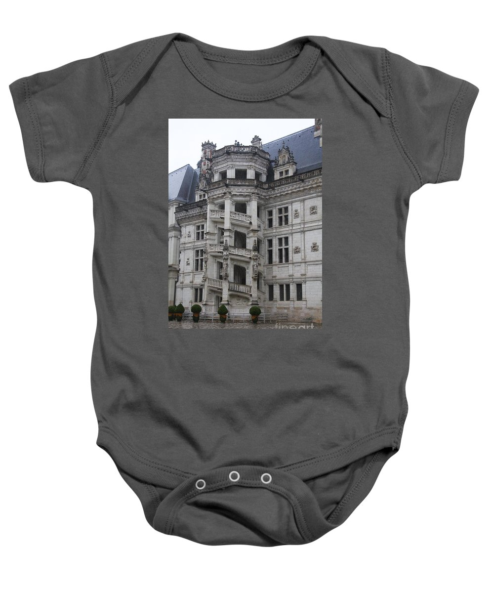Stairs Baby Onesie featuring the photograph Spiral Staircase Chateau Blois by Christiane Schulze Art And Photography