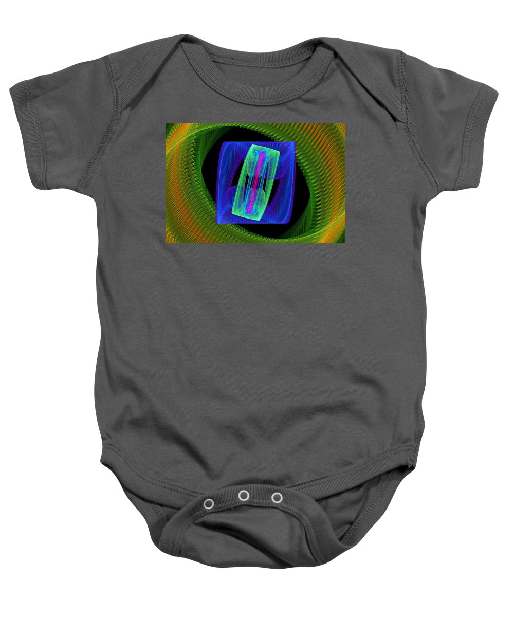 Round Baby Onesie featuring the photograph Spiral Vortex Green And Blue Fractal Flame by Keith Webber Jr