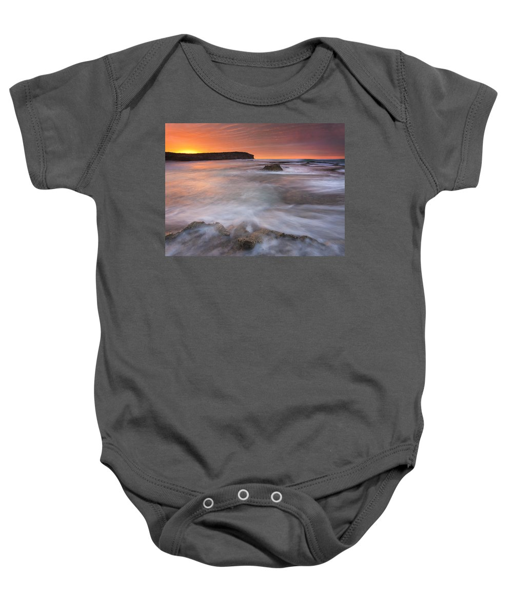Sunrise Baby Onesie featuring the photograph Splitting The Tides by Mike Dawson