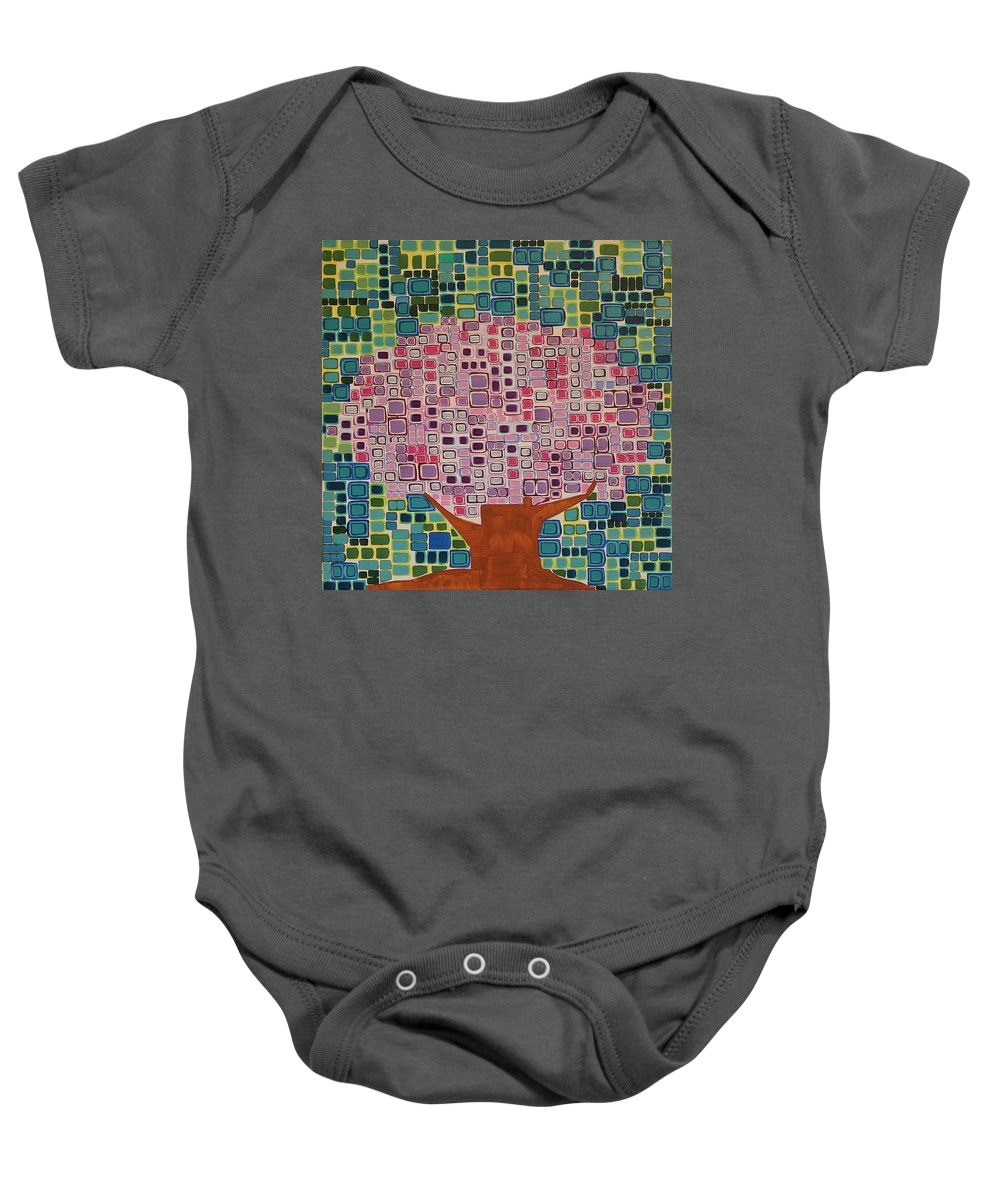 Tree Baby Onesie featuring the painting Spring Blossoms by Donna Howard