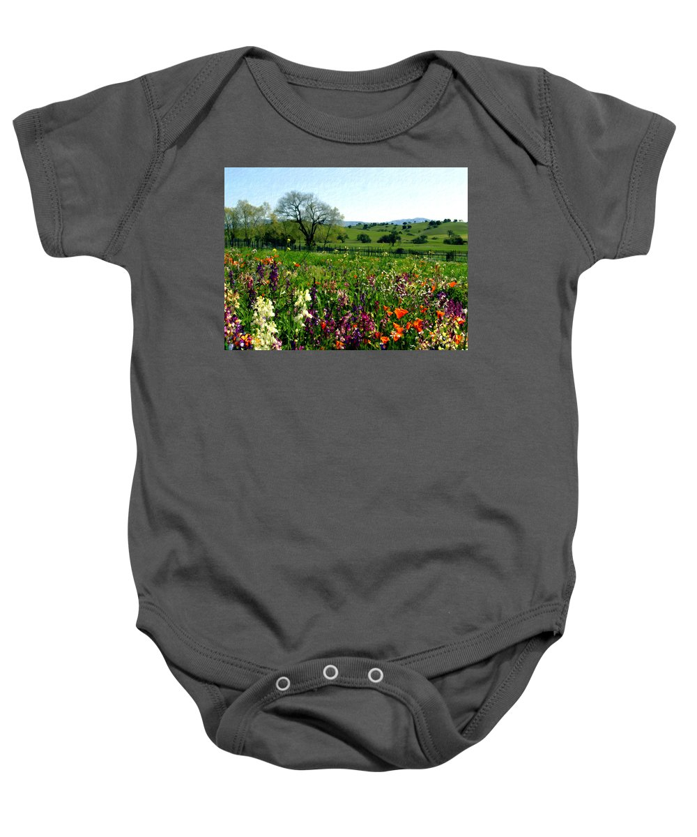 Flowers Baby Onesie featuring the photograph Spring Bouquet At Rusack Vineyards by Kurt Van Wagner