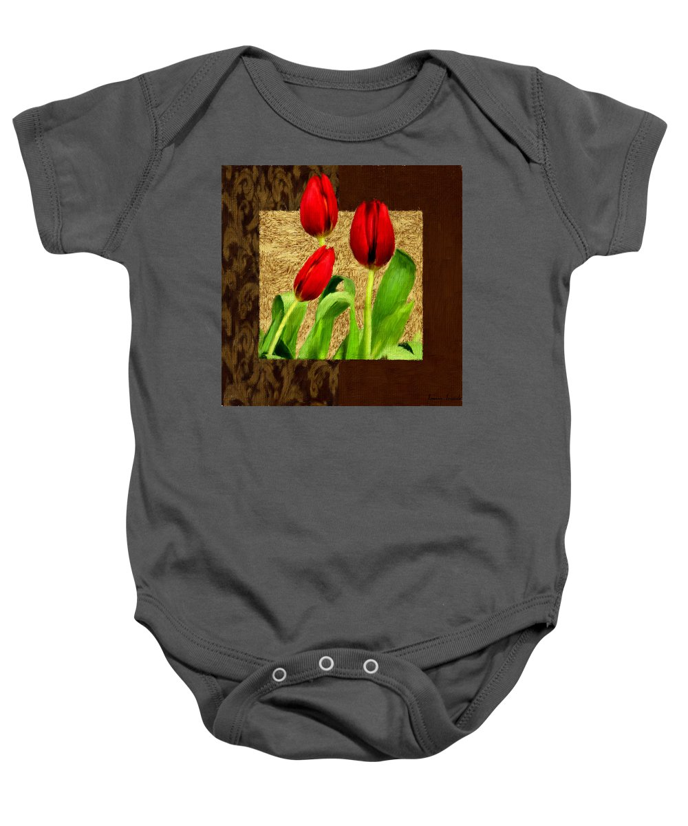 Red Tulips Baby Onesie featuring the photograph Spring Hues by Lourry Legarde