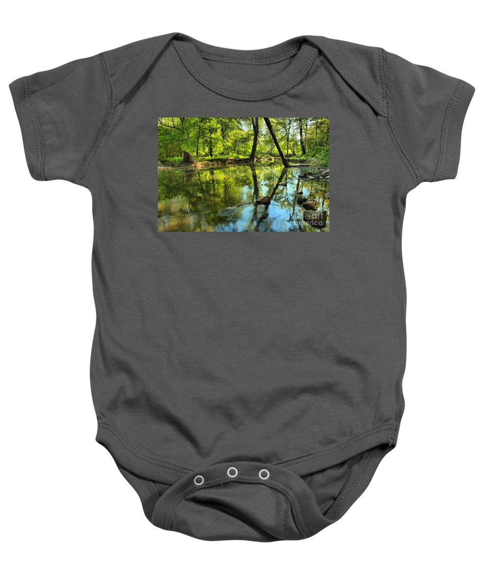 Spring Mill State Park Baby Onesie featuring the photograph Spring Mill Reflections by Adam Jewell