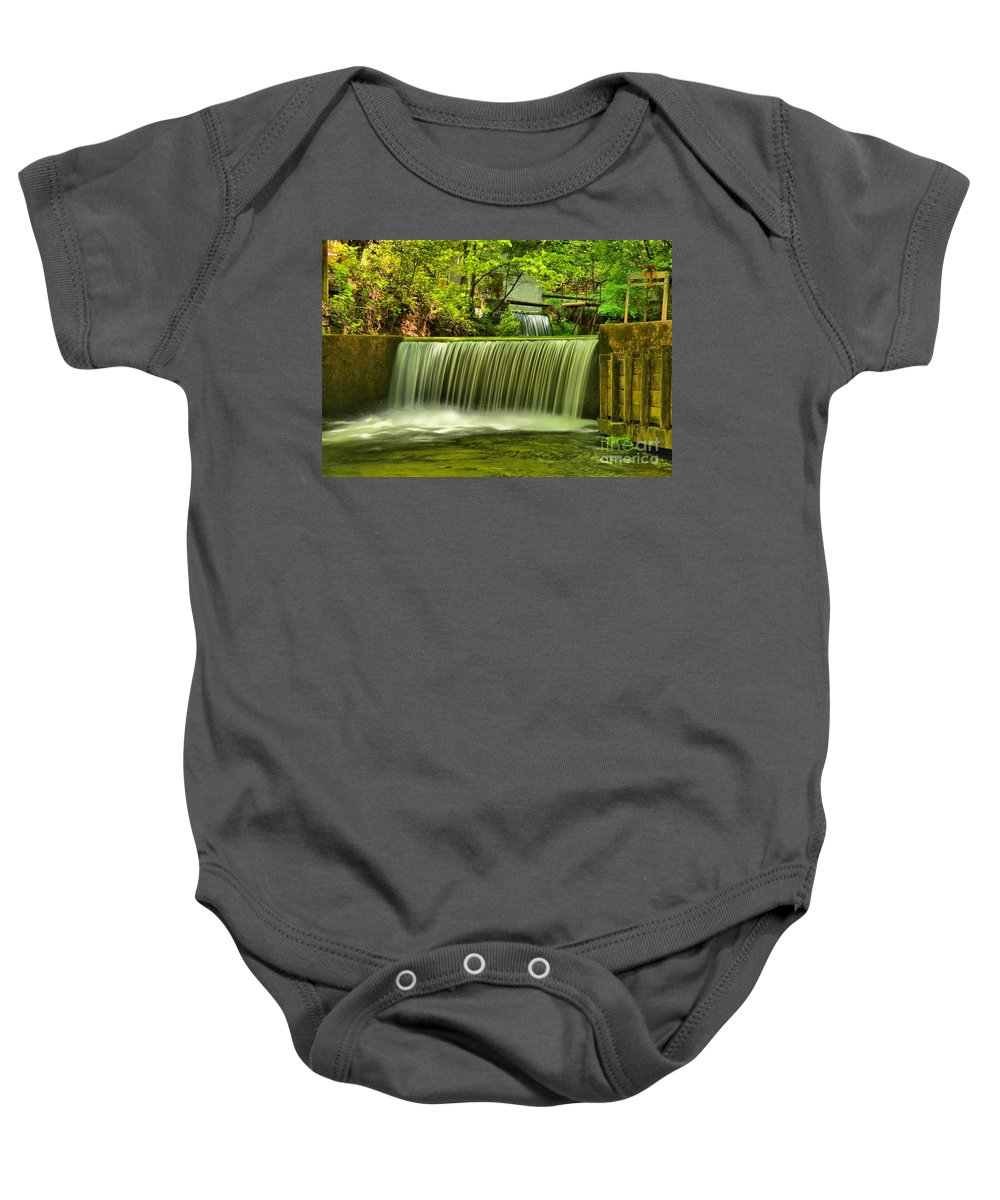 Spring Mill State Park Baby Onesie featuring the photograph Spring Mill Spillway by Adam Jewell