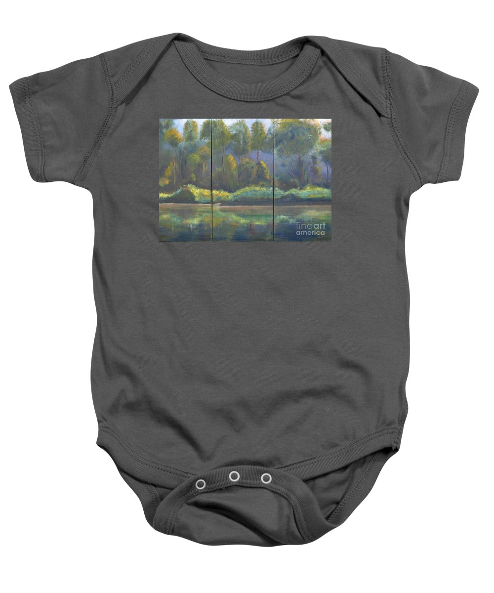 Spring River Coosa Tree Green Water Waterway Sunlight Reflection Tall Tree Blue Sky Yellow Water Front Flow Land Edge Stream Liquid Waterside Channel Baby Onesie featuring the painting Spring On The Coosa by Patricia Caldwell