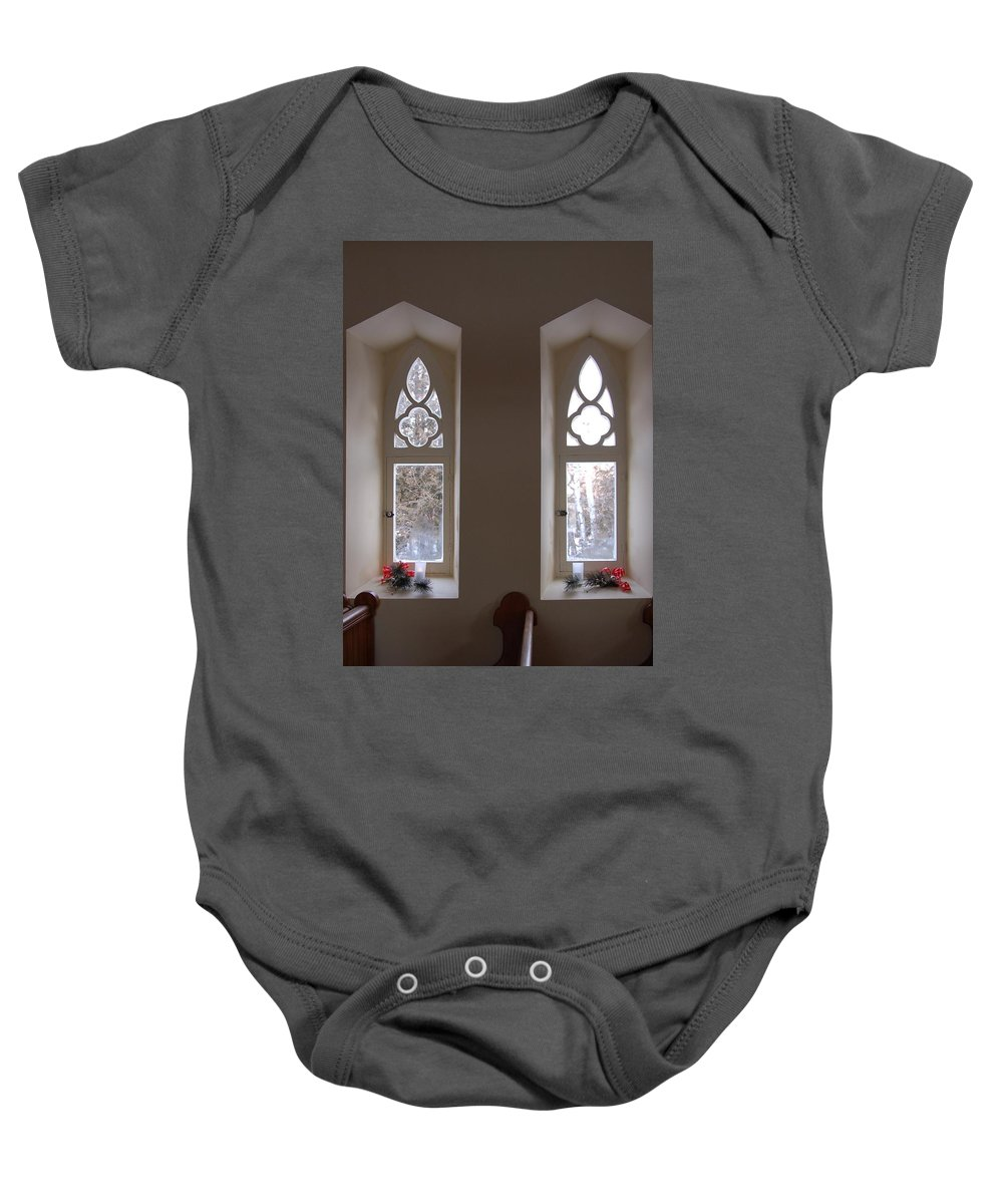 Window Baby Onesie featuring the photograph St. Augustine Windows by Valerie Kirkwood