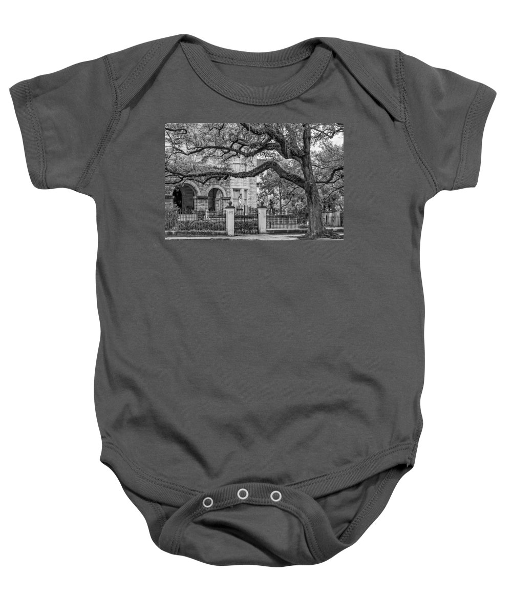Home Baby Onesie featuring the photograph St. Charles Ave. Mansion 2 Bw by Steve Harrington