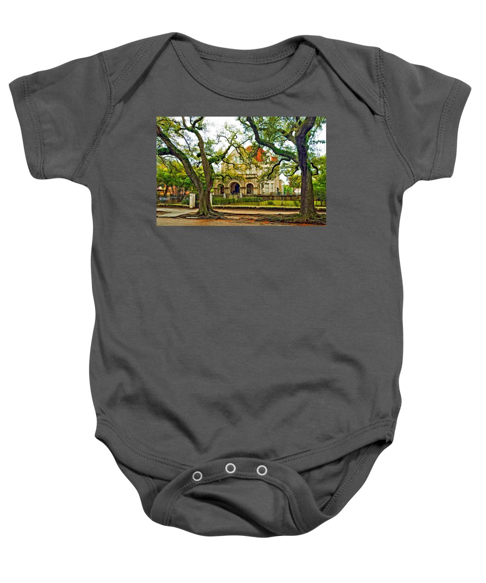 Home Baby Onesie featuring the photograph St. Charles Ave. Mansion Paint by Steve Harrington